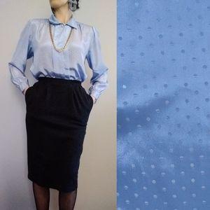 Vintage Powder Blue Flowy Button Up Blouse